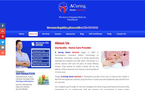 Screenshot of About Page acaringhomecareclarksville.com - Home Care Provider - A Caring Home Services in Clarksville TN - captured June 23, 2017