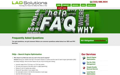 Screenshot of FAQ Page ladsolutions.com - FAQs - captured Sept. 19, 2014