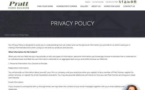 Screenshot of Privacy Page prattliving.com - Privacy Policy - Pratt Homes  Pratt Homes - captured Sept. 29, 2018