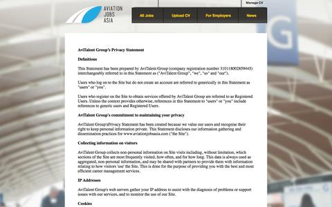 Screenshot of Privacy Page aviationjobsasia.com - Aviation Jobs Asia – Get in contact - captured Sept. 30, 2014
