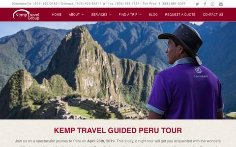 Screenshot of Signup Page kemptravel.com - Peru Tour 2019 - Kemp Travel Group - Kemp Travel Escorted Tours - captured Oct. 15, 2018