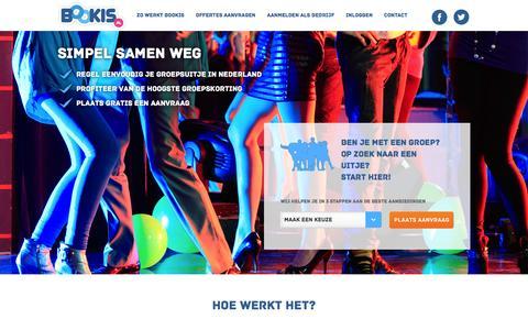 Screenshot of Home Page bookis.nl - Bookis.nl - Vind snel het beste groepsuitje en vergelijk aanbiedingen - captured Feb. 7, 2016