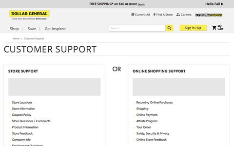 Screenshot of Support Page dollargeneral.com - Customer Support - captured Nov. 9, 2016