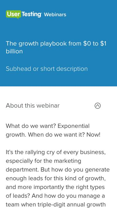 OnDemand Webinar - The growth playbook from $0 to $1 billion| UserTesting