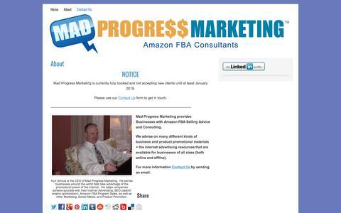 Screenshot of Home Page madprogressmarketing.com - Mad Progress Marketing - Amazon Consulting - captured July 26, 2018