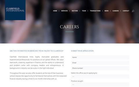 Screenshot of Jobs Page clairfield.com - Clairfield International |   Careers - captured Sept. 28, 2018