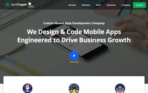 Screenshot of Home Page appschopper.com - App Development Company: Custom Mobile Apps Development Services - captured April 4, 2019