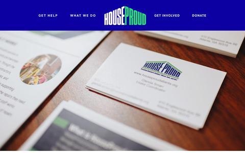 Screenshot of Contact Page houseproudatlanta.org - Contact Us — HouseProud - captured July 23, 2018