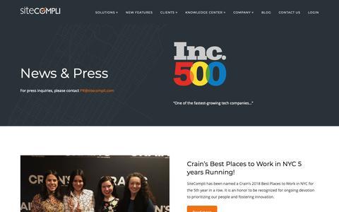 Screenshot of Press Page sitecompli.com - News & Press - SiteCompli - captured March 23, 2019