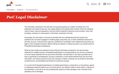Screenshot of Terms Page pwc.com.au - PwC Legal Disclaimer   PwC Australia - captured July 31, 2018