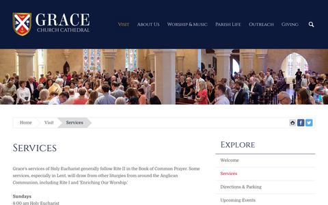 Screenshot of Services Page gracechurchcharleston.org - Grace Church Cathedral | Services - captured Sept. 30, 2018