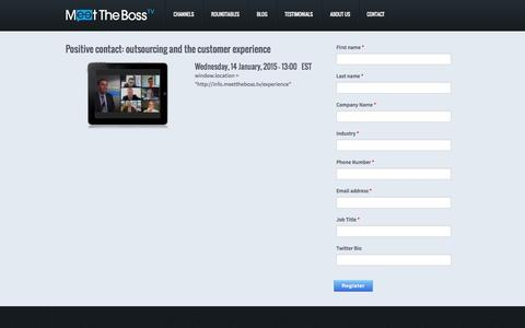 Screenshot of Signup Page meettheboss.tv - Positive contact: outsourcing and the customer experience | Meet The Boss - captured Oct. 29, 2014