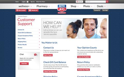 Screenshot of Support Page riteaid.com - Customer Support - Rite Aid - captured Oct. 10, 2014