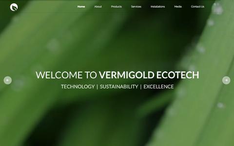 Screenshot of Home Page vermigold.com - Vermigold Ecotech | Cleantech waste management technology co. - captured Nov. 13, 2017