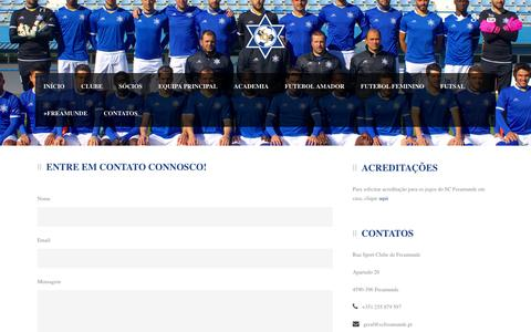 Screenshot of Contact Page scfreamunde.pt - Sport Clube de Freamunde - captured May 31, 2016