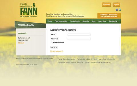 Screenshot of Login Page floridanativenurseries.org - Florida Association of Native Nurseries (FANN) - captured Oct. 6, 2014