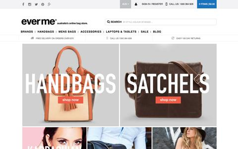 Screenshot of Home Page everme.com.au - Shop Handbags Online In Australia from EverMe - captured Oct. 1, 2015