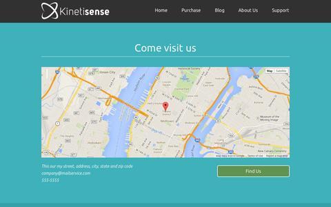 Screenshot of Contact Page kinetisense.com - Kinetisense - captured Sept. 30, 2014