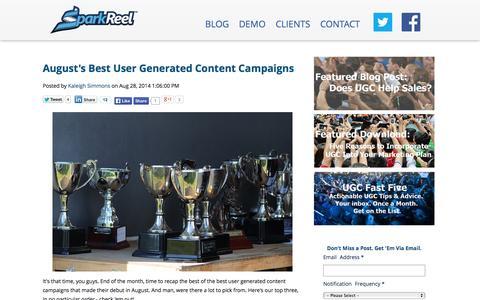 Screenshot of Blog sparkreel.com - SparkReel Blog - User Generated Content Tips, Tricks and Best of Show - captured Sept. 23, 2014