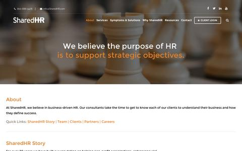 Screenshot of About Page sharedhr.com - About SharedHR - Human Resources Consulting - captured Dec. 6, 2016