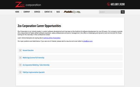 Screenshot of Jobs Page zco.com - Career Opportunities – Zco Corporation - captured Sept. 18, 2016