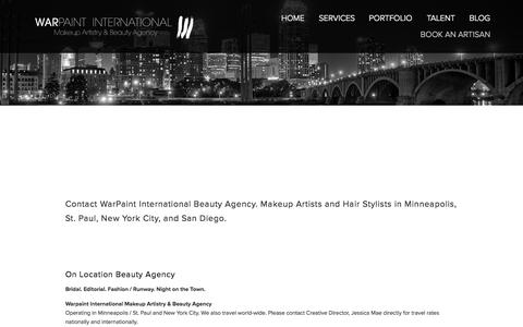 Screenshot of Contact Page warpaintinternational.com - CONTACT WARPAINT — Warpaint International Makeup Artistry & Beauty Agency - captured Nov. 2, 2014