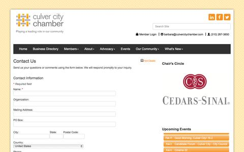 Screenshot of Contact Page culvercitychamber.com - Contact Us - Culver City Chamber of Commerce, CA - captured Feb. 2, 2016