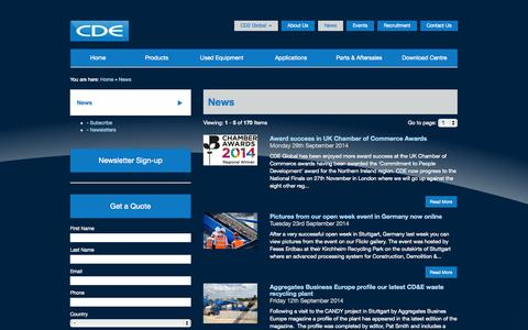 Screenshot of Press Page cdeglobal.com - News| CDE Global| CDEnviro| CDE Asia| CDE Brazil| Washing Plant - captured Oct. 1, 2014
