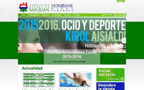 Screenshot of Home Page adsj-dke.com - Agrupación Deportiva San Juan | Donibane Kirol Elkartea - captured Oct. 10, 2015