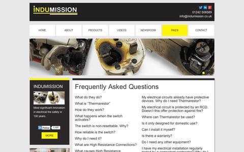 Screenshot of FAQ Page indumission.co.uk - Faq's - captured Oct. 2, 2014
