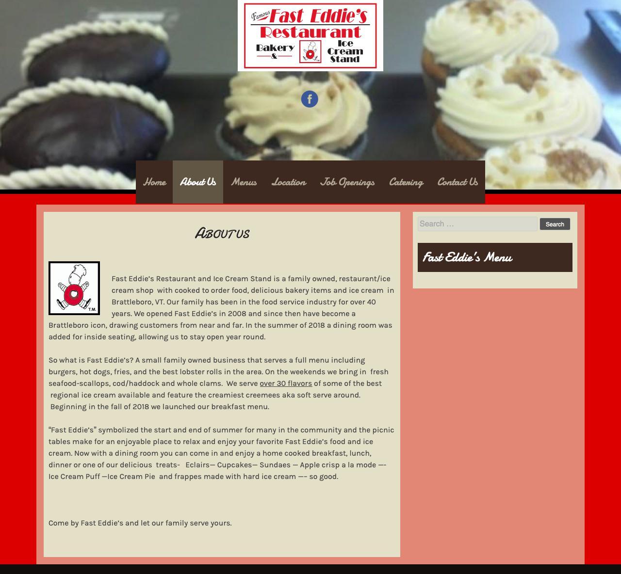 Screenshot of fasteddiesbakery.com - About Us | Fast Eddie's Restaurant - captured Nov. 14, 2018