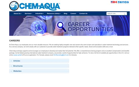 Screenshot of Jobs Page chemaqua.com - Careers - captured July 17, 2018