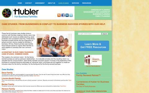 Screenshot of Case Studies Page hublerfamilybusiness.com - Hubler for Business Families | Case Studies - captured Oct. 3, 2014
