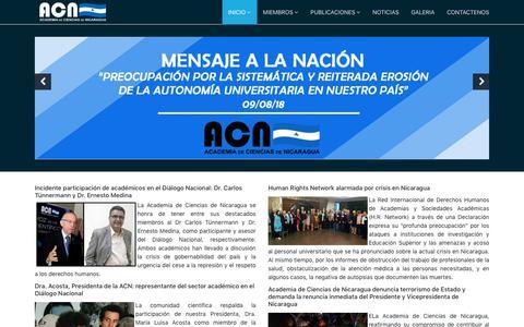 Screenshot of Home Page cienciasdenicaragua.org - Academia de Ciencias - captured Oct. 16, 2018