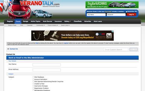 Screenshot of Contact Page veranotalk.com - Contact Us - Verano Talk Forum : Buick Verano Forums - captured Oct. 22, 2018