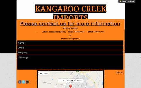 Screenshot of Contact Page kcimports.com.au - KCI, KANGAROO CREEK IMPORTS | Contact - captured July 5, 2017