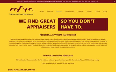 Screenshot of Services Page midwestamc.com - Appraisal Management Services — Midwest Appraisal Management - captured Nov. 28, 2016