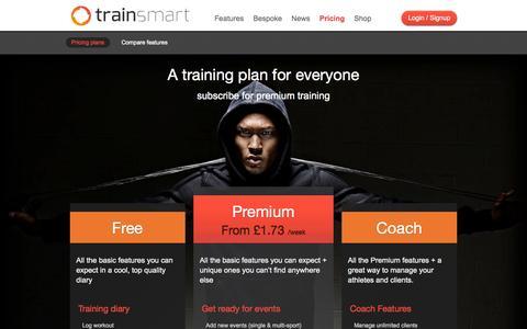 Screenshot of Pricing Page trainsmart.com - Pricing plans - Trainsmart Trainsmart - captured Oct. 7, 2014