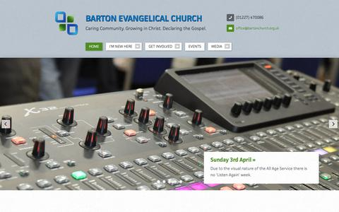 Screenshot of Home Page bartonchurch.org.uk - Barton Evangelical Church - captured April 4, 2016