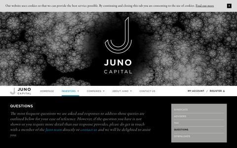 Screenshot of FAQ Page junocapital.co.uk - Juno Capital LLP - Questions - captured Feb. 11, 2016