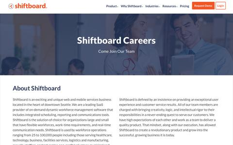 Screenshot of Jobs Page shiftboard.com - Careers | Shiftboard - captured Feb. 6, 2019