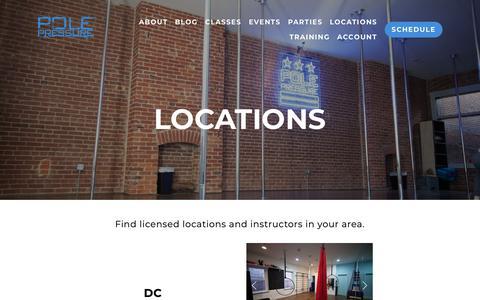 Screenshot of Locations Page polepressure.com - LOCATIONS | Pole Pressure - captured Sept. 28, 2018