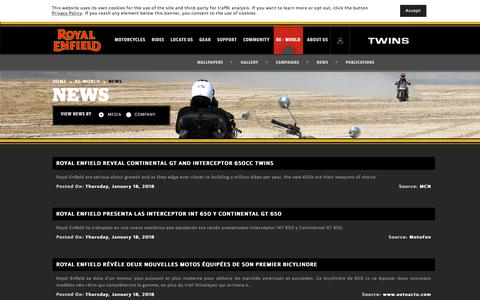 Screenshot of Press Page royalenfield.com - News | Royal Enfield Motorcycles - captured July 22, 2018