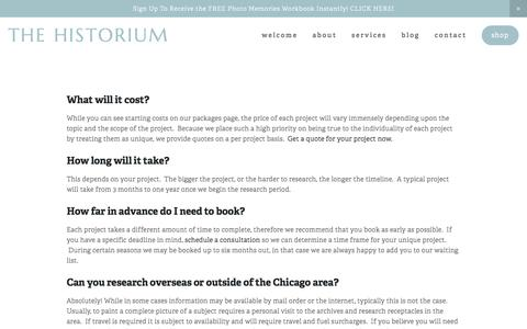 Screenshot of FAQ Page thehistorium.com - FAQ — The Historium - captured Feb. 25, 2016