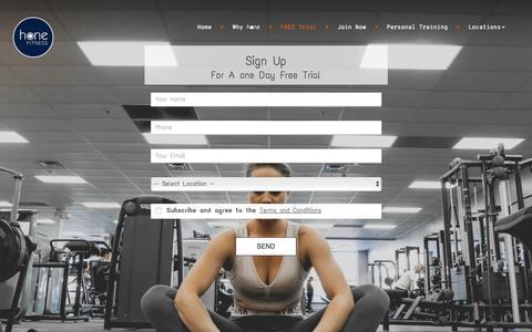 Screenshot of Trial Page honefitness.com - Honefitness | trial - captured Sept. 29, 2018