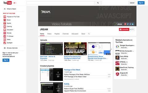 Screenshot of YouTube Page youtube.com - JREAM  - YouTube - captured Oct. 30, 2014