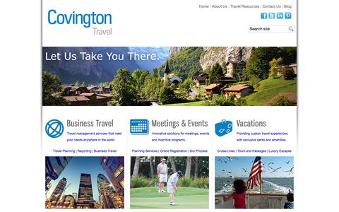 Screenshot of Home Page covingtontravel.com - Leading Business Travel Agency Luxury Vacations in Glen Allen, VA | Covington Travel - captured July 22, 2018