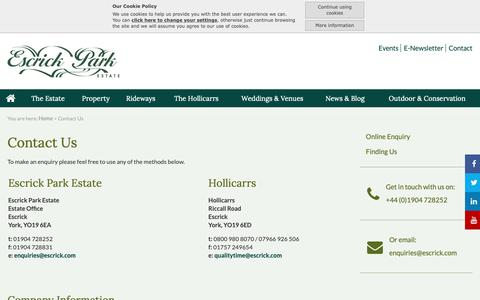 Screenshot of Contact Page escrick.com - Contact Us:: Escrick - Country Estate, Commercial Property to Let Yorkshire - captured Sept. 29, 2018
