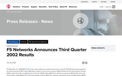 Screenshot of Press Page f5.com - F5 Networks Announces Third Quarter 2002 Results - captured March 8, 2018