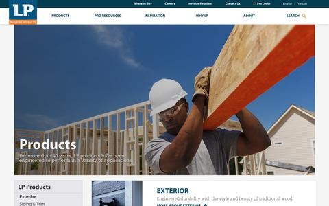 Screenshot of Products Page lpcorp.com - Construction Products | Engineered Wood Products | LP Building Products - captured May 29, 2018
